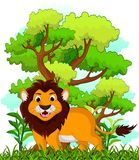 Lion cartoon with forest background Stock Image