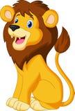 Lion Cartoon sammanträde stock illustrationer