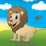 Lion. Cartoon-style illustration of a smiling lion Stock Image
