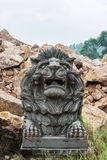 Lion Carving en pierre au temple Photo stock