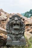 Lion Carving en pierre au temple Photo stock