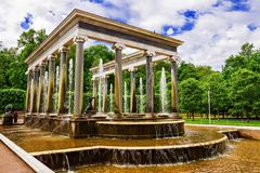 Lion cascade fountain in Peterhof, Russia Stock Photography