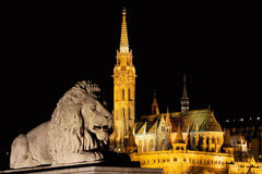 Lion and the Cathedral. Lion sculpture with cathedral in background Royalty Free Stock Images
