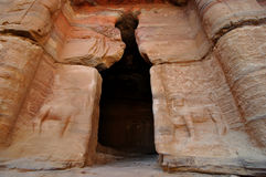 Lion cave entrance in Petra, Jordan Royalty Free Stock Photos
