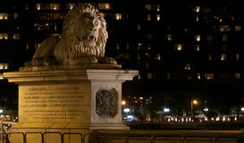 The lion of the Chain bridge in Budapest Royalty Free Stock Image