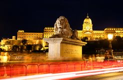The lion of the Chain bridge in Budapest stock photography