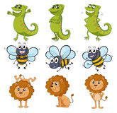 A lion, a chameleon and a bee. Illustration of a lion, a chameleon and a bee on a white background Royalty Free Stock Photos