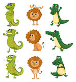 A lion, a chameleon and a crocodile Stock Images
