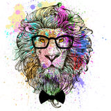 Lion character colorful portrait. Lion fashion character portrait with glasses and bow Stock Photo