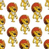 Lion with a cheesy toothy grin seamless pattern Stock Photography