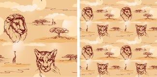 Lion and cheetah heads. Seamless pattern. Stock Image