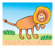 Lion children's drawing. Orange lion hunting in savanah Royalty Free Stock Photography