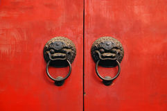 Lion chines door hand grip Royalty Free Stock Image