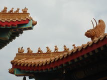 Lion on Chinese temple roof Stock Images