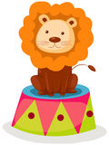 Lion circus. Illustration of isolated lion circus sitting on white background Stock Photos