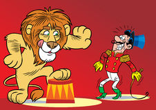 Lion in the circus. The illustration shows the tamer and the lion performing the trick Royalty Free Stock Images