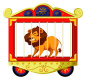 Lion in circus cage. Illustration Stock Photography