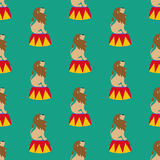 Lion in circus pattern. On the green background. Vector illustration Stock Photo
