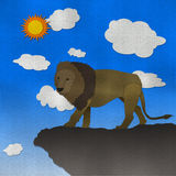 Lion of the cliff form recycled paper Royalty Free Stock Images