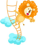 Lion climbing rope ladder Royalty Free Stock Image