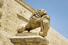 Lion with the coat of arms near Main Gate city Mdina in Malta Stock Images