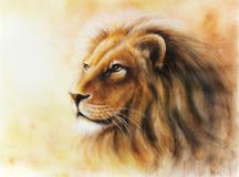 Lion color painting multicolor Illustration. Beautiful Lion airbrush painting on paper Royalty Free Stock Image
