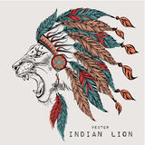 Lion in the colored Indian roach. Indian feather headdress of eagle