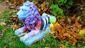 Lion. Colorful lion craft made of plaster Royalty Free Stock Photography