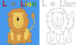 Lion Coloring Book Page vector illustration