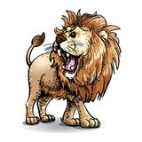 Lion-Colour vector art and stipple. A colourful vector line and stipple drawing of a roaring Lion Royalty Free Stock Photo