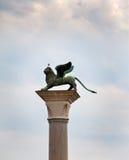 Lion on  column. Venice, Italy Royalty Free Stock Photos