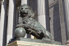 Lion of the Congreso de los diputados Royalty Free Stock Photography