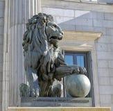 Lion of the Congreso de los diputados royalty free stock photo