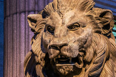 Bronze sculpture of a lion at the entrance to the Congress of Deputies in Madrid, Spain Stock Images