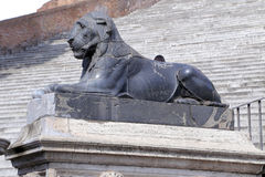 Lion on Cordonata del Campidoglio, in Rome. Royalty Free Stock Photos