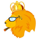 Lion in corona and spectacles Stock Image