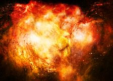 Lion in the cosmic space. Lion photos and graphic effect. Stock Images