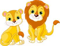Lion couple Stock Images