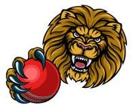 Lion Cricket Ball Sports Mascot Lizenzfreies Stockbild