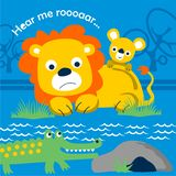 Lion and crocodile funny animal cartoon,vector illustration. For t shirt or book royalty free illustration