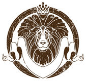 Lion with crown as emblem Stock Photos