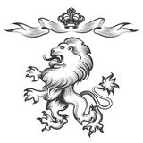 Lion with crown in engraving style Royalty Free Stock Image