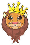 Lion and crown. Face of lion on golden crown Stock Image