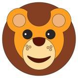Lion cub face in cartoon flat style vector illustration