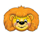 A lion cub Mask, carnival, childrens events, cartoon. A lion cub, ginger Mask, carnival, children parties. Color illustrations Stock Photos