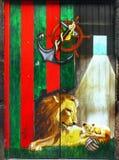 Lion And Cub Painting, Muurmuurschildering royalty-vrije stock foto