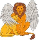 Lion With Cub Under Its à ailes Wing Drawing Image libre de droits