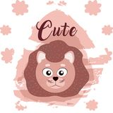 Lion cute animal cartoon. Lion cute cartoon on white and pink colors with floral background vector illustration Royalty Free Stock Image