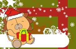 Lion cute cartoon xmas claus costume background Royalty Free Stock Image