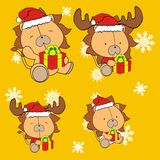 Lion cute cartoon xmas claus costume set Stock Photography
